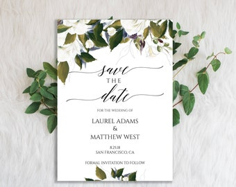 Greenery Wedding, Save the Date Template, Save the Date Printable, Save the Date Card, DIY Save the Date, Rustic Save the Date, PDF,  6094