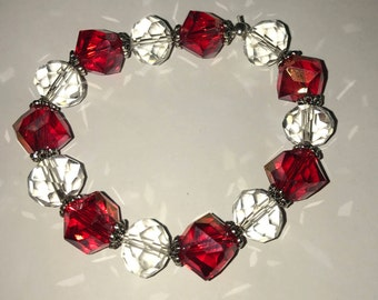 Handmade Christmas holiday bracelet red and clear crystal