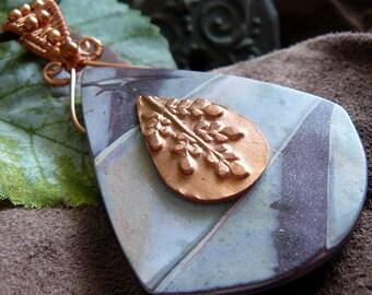 Copper Leaf Pendant ~ Copper Clay Pendant ~ Mixed Media Pendant ~ Polymer Clay Shield Pendant ~ Shield Pendant ~ Polymer Clay ~ Copper Clay
