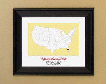 Personalized Baby Gift - Custom Nursery Art - Present for New Mom - Map of United States - US Love Print - 11 x 14