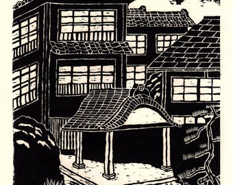 """Japanese Ukiyoe, Woodblock print. Sosaku-Hanga, """"Hatago""""."""