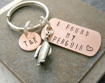 Personalized I Found My Penguin keychain, choose to add optional disc with initials, anniversary gift, engagement gift, wedding gift