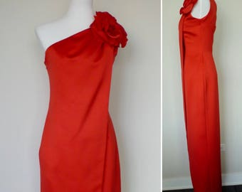 Vintage 80s full length one shoulder red dress by Victor Costa size 2