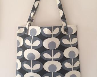Tote Bag Cotton  in Orla Kiely Cool Grey Fabric, shopper bag