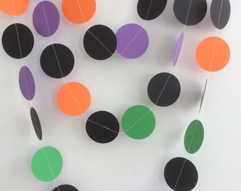 Black, Orange, Purple and Green Circle Garland, Decor, Halloween, Parties, Celebrations