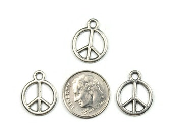 10 Antique Silver Peace Sign Charms