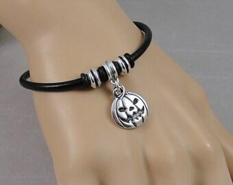 Jack O' Lantern Bracelet, Halloween Pumpkin Charm Bracelet, Black Leather Cord European Charm Bracelet, Halloween Jewelry
