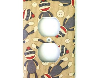 Sock Monkey Light Switch Cover // Outlet Cover // single Light Switch // Double Light Switch
