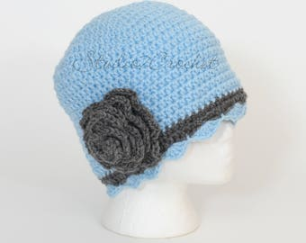 Flapper hat, light blue with gray trim, size teen/adult