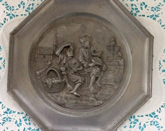 German Pewter - Pewter Plate - Mid Century - Made in Germany -  Wall Decor - Angel Hallmark - country kitchen - Pewter Gift - German Decor