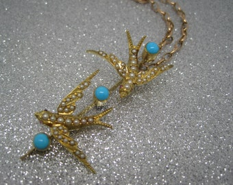 Antique Victorian gold swallow necklace turquoise and seed pearls