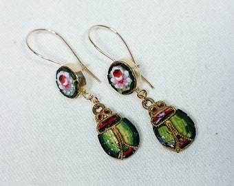 Micro Mosaic Scarab Beetle Bug & Flower Earrings, Gold Filled, Italy Grand Tour Souvenir, Egyptian Revival