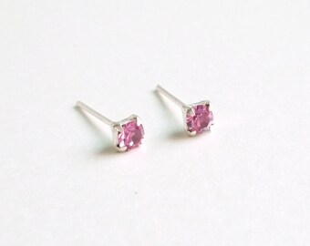 3 mm Small Rose Pink Crystal 925 Sterling Silver Stud Earrings - Bridesmaid Gift - Cartilage Earrings - Hypoallergenic Second Hole Earrings