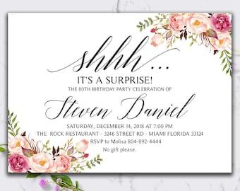 Boho Floral Surprise Birthday Invitation, Birthday Invitations, Rustic Birthday SSSH_05-04 | Instant Download DIY Printable Editable