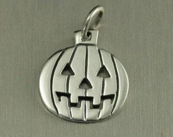 Sterling Silver Jack-O-Lantern Charm--Pumpkin Pendant--Halloween Theme Charm--Spooky Charm--Carved Pumpkin--Gourd Pendant--Fall Charm