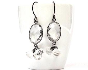 "Faceted Rock Crystal Earrings, Raw Crystal Earrings, Rock Crystal Earrings in Oxidized Sterling Silver, ""Luperca"" Rock Crystal Earrings"