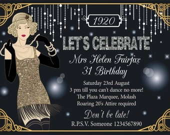 Downloadable Personalised/Customised Invitations or Thank you Cards Great Gatsby printable, digital