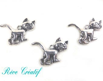Cat pendants length 30 mm, width 21 mm, thickness 4mm, hole 2mm, silver, 10 pieces