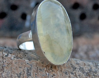 Prehnite Ring, Ovall Cab Green Prehnite sterling silver ring, Huge Prehnite Gemstone Solid silver ring Jewelry