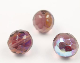 Fire polished, 12mm, 20 pcs, 1.4mm hole, Amethyst AB, Faceted round, Czech glass beads, 20050/28701, FP12-12