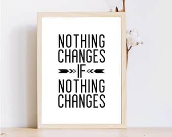 Fitness devis impression / impression 8 x 10 mur imprimé / motivation / «Rien ne change si rien ne change» / Téléchargement instantané / exemples d'impression