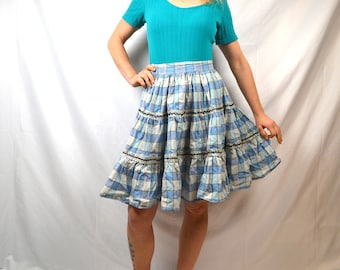 Vintage Floral Cotton Ric Rac Square Dancing 1950s 50s Full Skirt