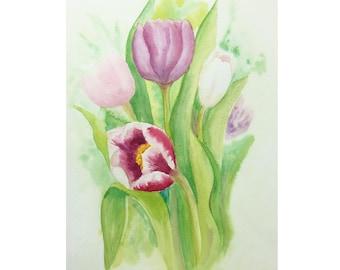 Tulips, original watercolour painting, flowers