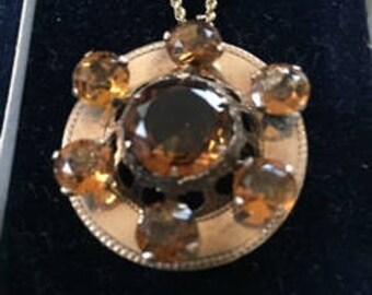 Victorian Scottish Gold Citrine Pin/Pendant