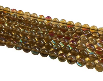 1Full Strand Brown Mystic Aura Quartz Round Beads, 8mm 10mm Aura Quartz,Holographic Quartz For Jewelry Making