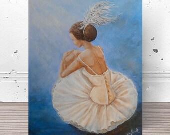 Original 16x20 ballerina painting on canvas, ballet dancer wall art, sitting ballerina painting by Nancy Quiaoit