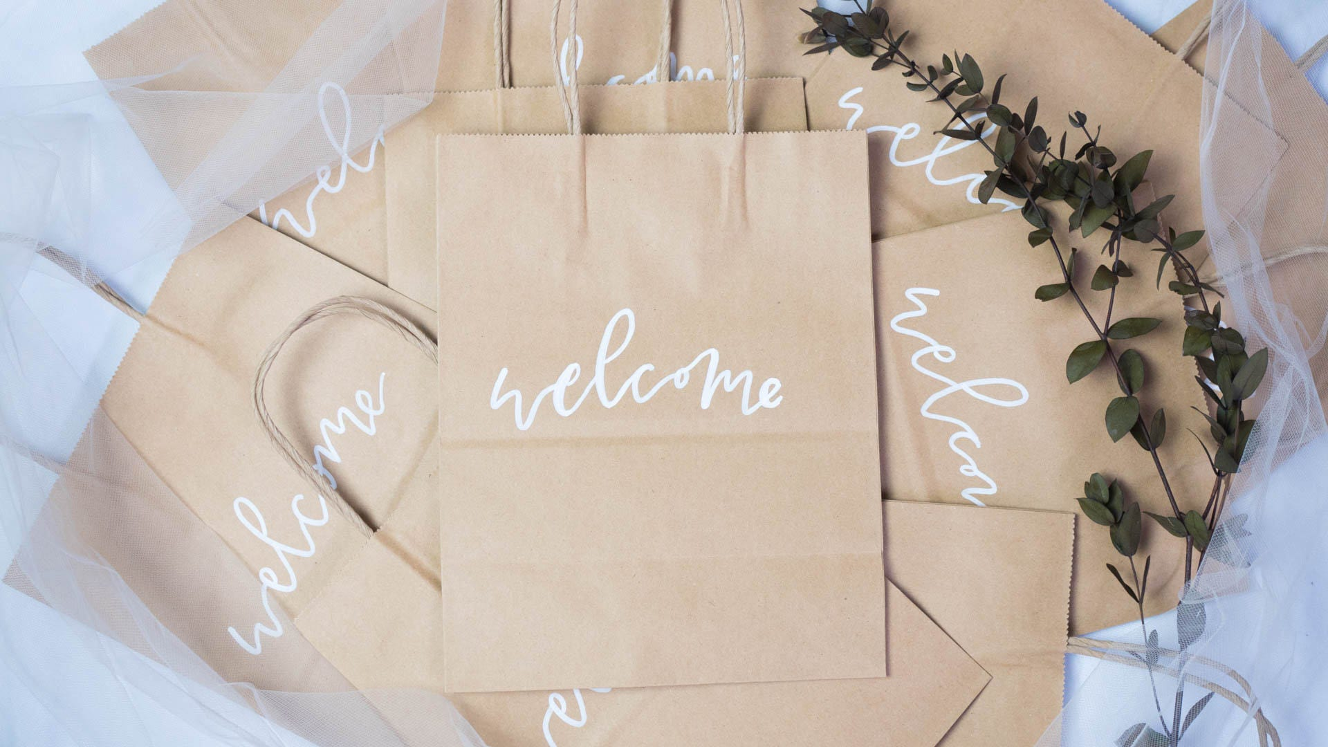 Welcome Bags // Wedding Gift Bags // Calligraphy Hand Lettered