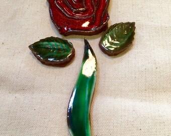 Red Rose Flower Handmade Ceramic Mosaic Tile Pack
