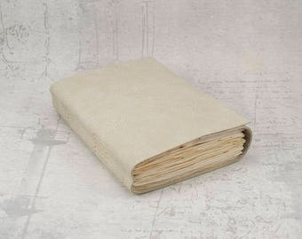 Cream beige leather journal sketchbook, unique notebook A6 travel journal