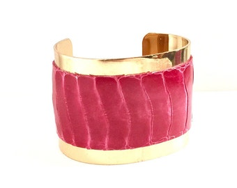 40% OFF Exotic Gold-lined Cuff Bracelet for Women -- Genuine Raspberry Pink Ostrich