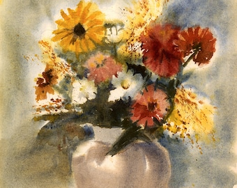 Still Life with Flowers, Print from Watercolor by E.S. Beal, Flowers, Black-Eyed Susans, Vase, Fine Art, Wall Art