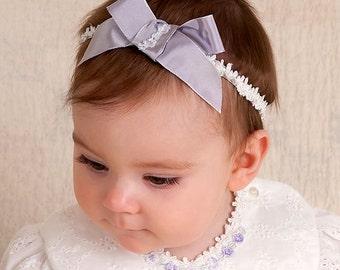 Lavender Bow Headband 'Eleanor', Baby Headband