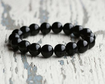 onyx stone bracelet black onyx beads bracelet boyfriend gift for husband onyx bracelet men bracelet gift father mens jewelry goth protective
