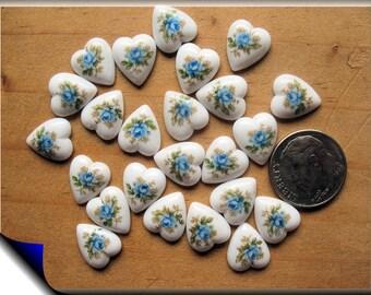Vintage Japan Porcelain Heart Cabachons with Blue Roses 24