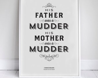 """His Mother was a Mudder Poster 11x17"""" - Seinfeld Quote Print - Vintage Retro Typography"""