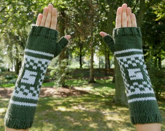 "Harry Potter Slytherin House Armwarmers - Hand Knit Fingerless Gloves - Wristwarmers - Green & Grey Pattern Fingerless Mittens with ""S"" Logo"
