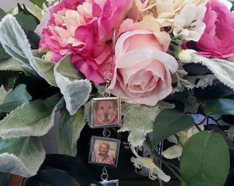 Silver Photo Wedding Bouquet Charm - 3 frames