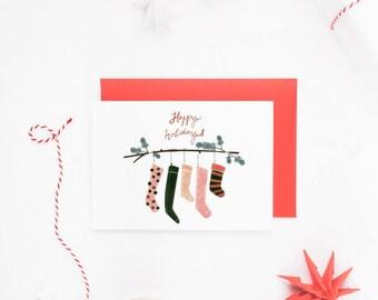 Traditional Christmas Stocking Christmas Cards, Happy Holidays, Rustic Christmas Card Set, Christmas Cards Boxed Set, Christmas Cards UK