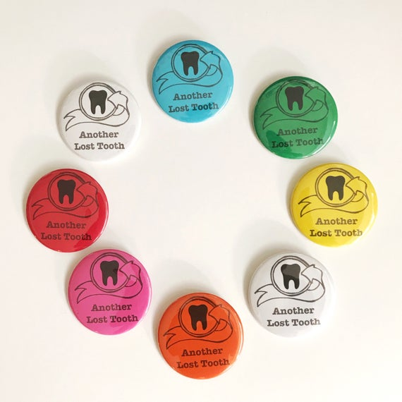 "Lost tooth button. Button and Lost Tooth Pouch. pin button. 2 1/4"" button. Choose your color."