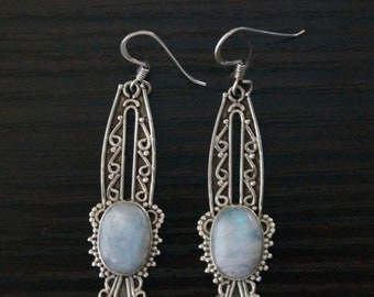 ON SALE Unique RAINBOW Moonstone Silver Earrings