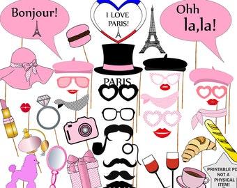 """Paris  Photo Booth Props: """"PARIS PHOTO PROPS"""" Printable France Photo Booth,Paris Theme Party, parisian photo props, Wedding photo props"""