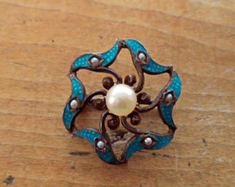 Antique Sterling Silver Enamel Tiny Natural Pearl Brooch Pin Victorian Jewelry Signed Sterling C Catch