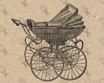 Antique graphic Baby Buggy Carriage Instant Download picture Digital printable vintage clipart home decor prints paper tote towel HQ 300dpi