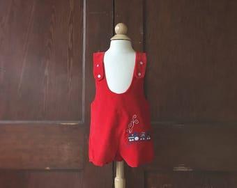 Vintage Red Velvet Choo Choo Train Embroidered Short Alls (Size 12 Months)