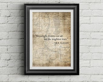 J.R.R Tolkien Quote Print - Moonlight Drowns All But the... - LOTR, Lord of the Rings, The Hobbit, The Two Towers, Wall art, Cool Gift!