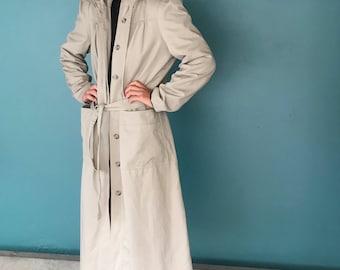 Beige Trench Coat, Hooded Trench Coat, 90s Trench Coat, Minimal Trench Coat, Vintage Trench Coat, Belted Trench Coat, TaraLynEvansStudio